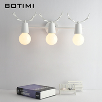 BOTIMI New Arrival Creative LED Wall Lights For Bathroom Modern Wood Mirror Light Wall Mounted Bedroom Wall Lamp Home Luminaire