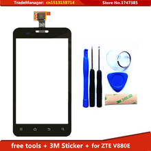 Tools+3M Sticker Original Touch Screen For ZTE V880E Glass Capacitive sensor Touch Screen panel Black FreeShipping
