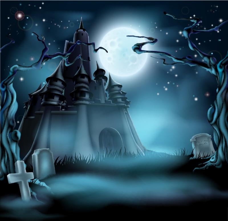 HUAYI Moon Night Castle Photography Halloween Backdrop XT3556