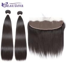 """""""BEAUDIVA"""" prieš spalvą tiesus 1B # Natūralios spalvos žmogaus plaukai 2/3 paketai su vienu 13 * 4 uždarymu Non Remy žmogaus plauku"""