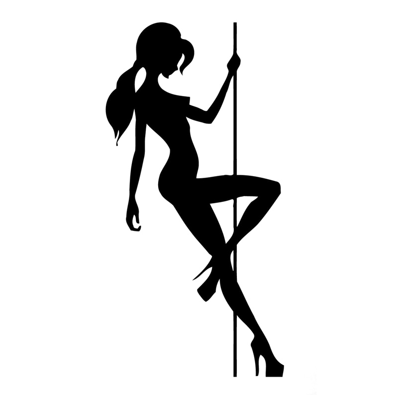 8.5cm*16.7cm Sexy Girl Pole Dance Car Sticker Vinyl Car-Styling Black/Silver S3-6083