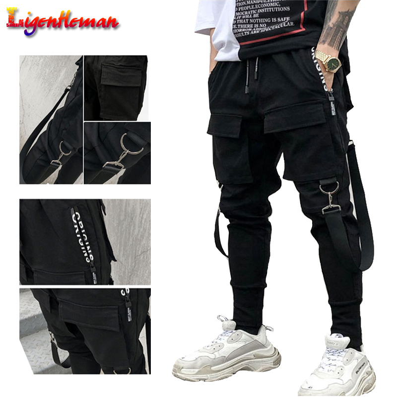 NEW Hot Mens Hip Hop Patchwork Cargo Ripped Sweatpants Joggers Trousers Male Fashion Full Length Pants Side Pockets Pencil Pants