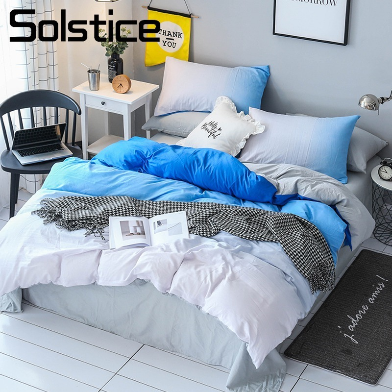 Solstice Home Textile Blue White Sport Simple Bedding Set Boy Girl Teen Adult Linen Queen Full Duvet Cover Pillowcase Bed Sheets