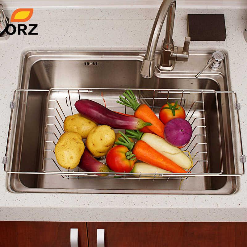 ORZ Cozinha Frutas Legumes Prato de Drenagem Rack Ajustável In-Pia de Aço Inoxidável Tigela Escorredor Secagem Cesta De Armazenamento Bandeja
