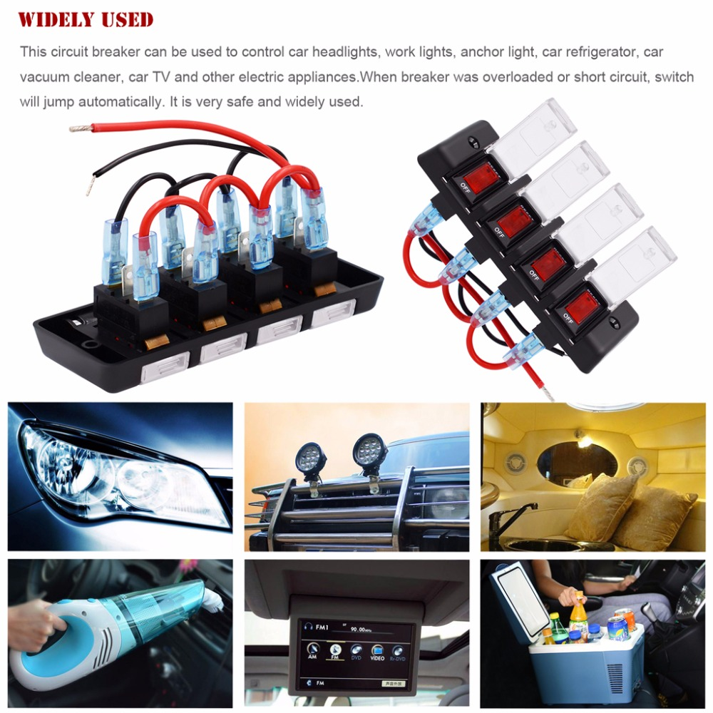 12v 16a 4 Gang Panel Waterproof Red Led Power Switch Circuit Breaker Short Appliances With Fuse For Boat Car Suv High Qaulity C45 In Switches Relays From