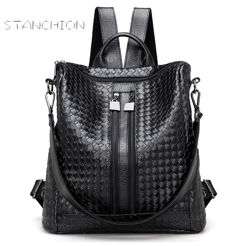 цены Backpack Female Leather Woven Pattern Crocodile Pattern Shoulder Bag Travel Leisure Mochila Feminina Large Capacity For Teenage