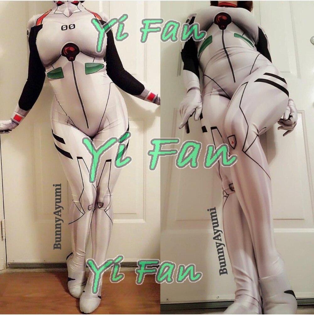Hot Sale NEW EVA Ayanami Rei Girl Cosplay Costume 3D Print Spandex Zentai Bodysuit Halloween Costume