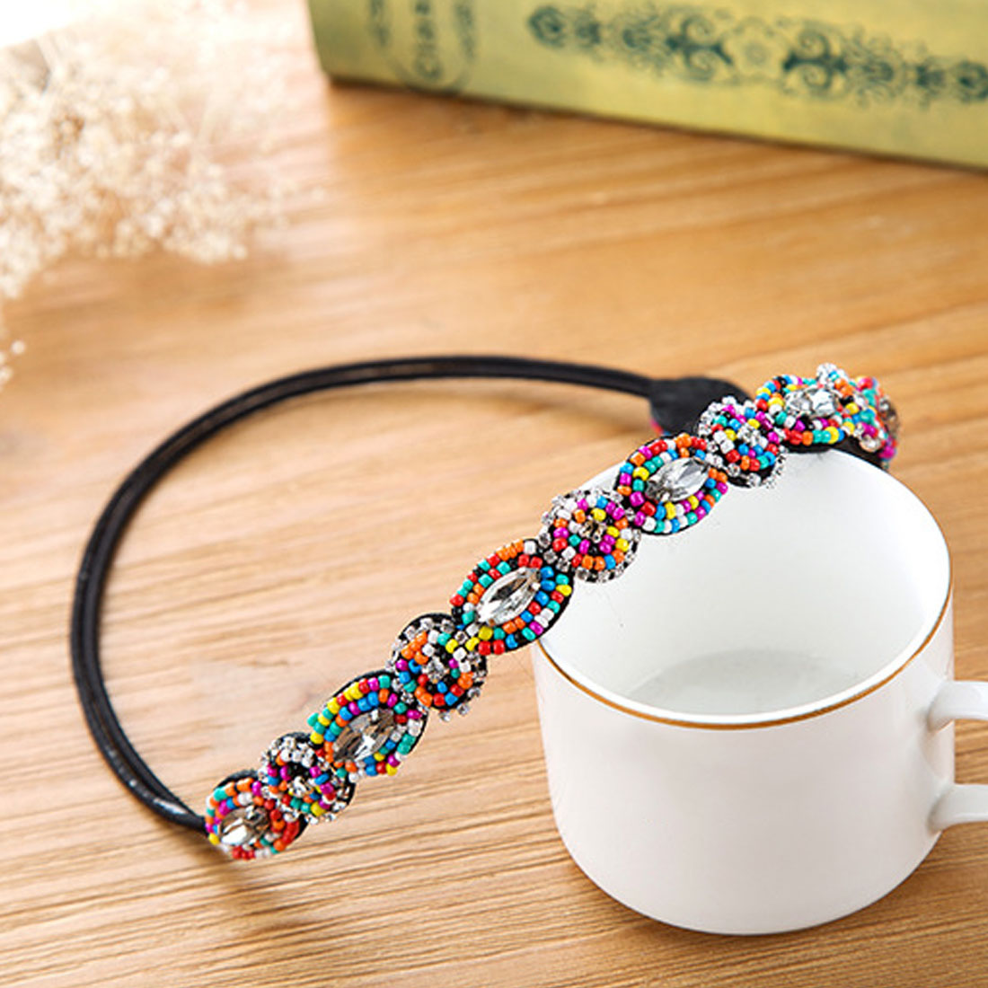 Party Bohemian Rhinestone Elastic Hair Band Hot Hair Accessory For Woman New Vintage Bohemian Ethnic Beads Handmade Headband