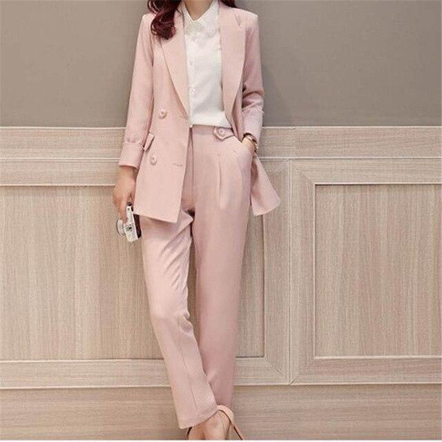 2019 Rosa doble Breasted mujer moda negocios 2 piezas trajes mujeres Slim Fit personalizado trajes Garnitur Damski chaqueta + Pantalones-in Trajes de pantalón from Ropa de mujer    1