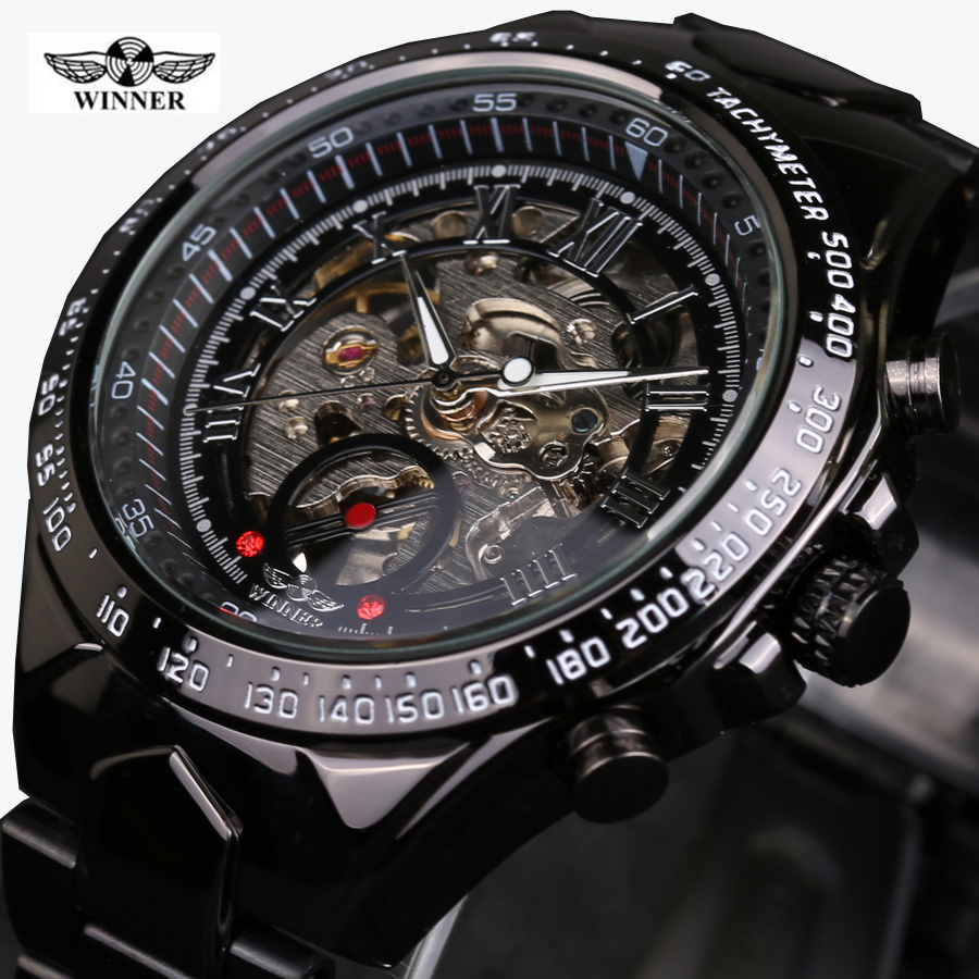 Winner Black Dial Stainless Steel Horloge Watches Men Luxury Brand Automatic Skeleton Sport Style Watch Clock Men Military Watch ultra luxury 2 3 5 modes german motor watch winder white color wooden black pu leater inside automatic watch winder