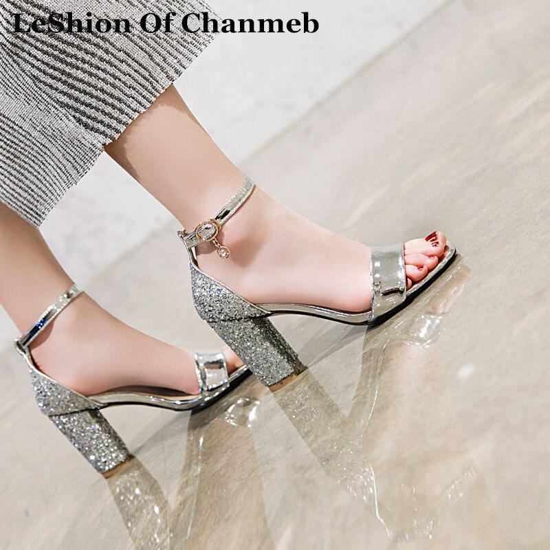 2019 PU leather ankle strap sandals women larger size 43 48 open toe glitter silver gold summer sandals shoes sandalia feminina