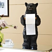 European Resin Creative Bear Paper Towel Rack Figurines Crafts Kitchen Diningroom Bathroom Paper Holder Ornaments Decoration Art
