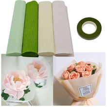 25cmx250cm Colorful Crepe Paper And Floral Stem Tape For DIY Flower Wrapping Fold Scrapbooking Gifts Party Garland Decoration 8Z
