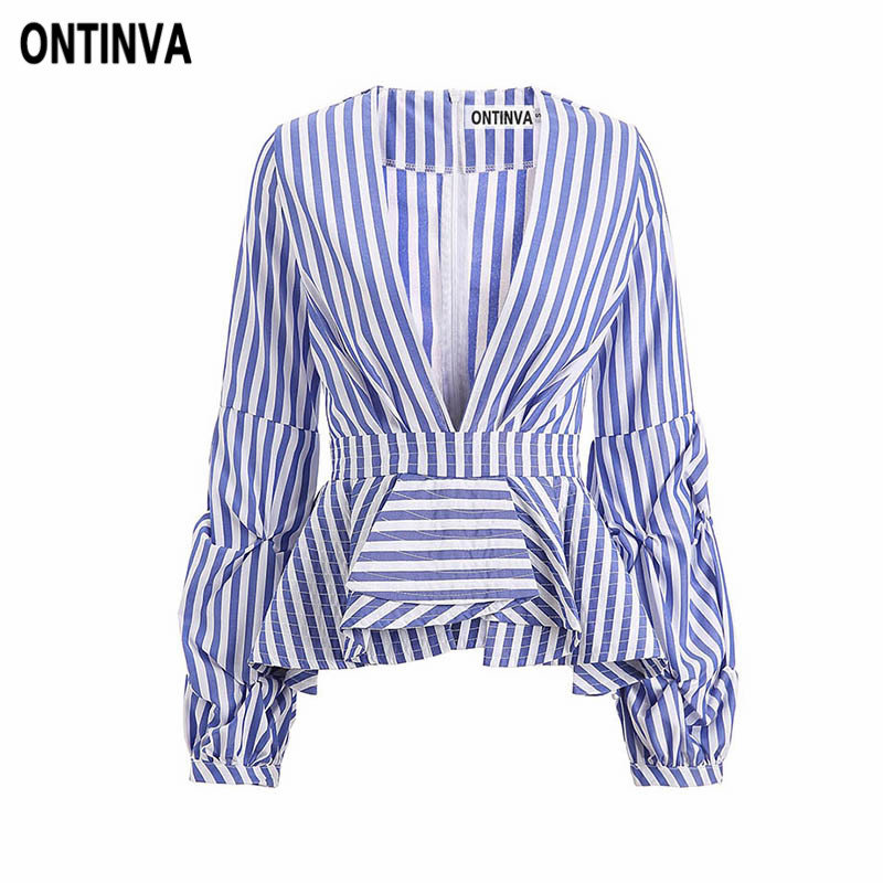 Sexy Deep V Neck Blue Striped Blusas 5XL Plus Size Women Vintage Puff Sleeve Ruffles Trim Slim Waist Shirts Femininas Blouses