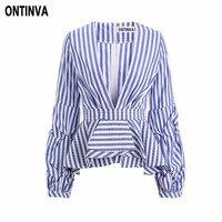 Sexy Deep V Neck Blue Striped Blusas 5XL Plus Size Women Vintage Puff Sleeve Ruffles Trim Slim Waist Shirts Femininas Blouses
