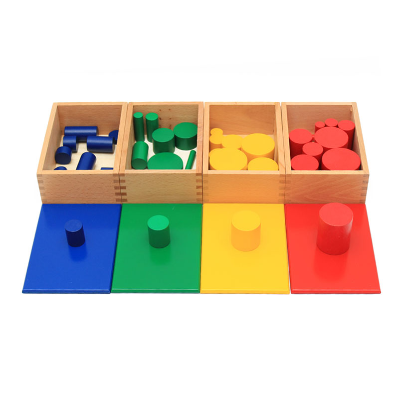 montessori educational wooden toys Cylinders 4 Sets of 10 Cylinders learning montessori math toys toys for children C226T цена