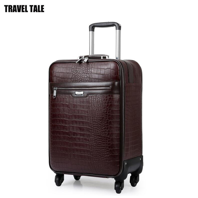 Travel Tale 20 24 Inch Men Spinner Leather Carry On Trolley Bag Business