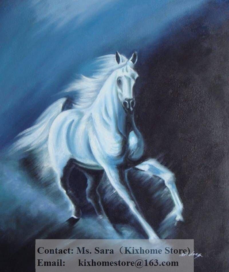 Wholesale Cheap Wildlife White Running Horse Oil Painting