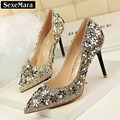 2017 Lady Sexy Hot Pumps High Heels Pointed Toe Shoes Small flower Sequins Rivets Fine Single Bling  Wedding Shoes Women