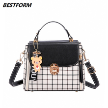 BESTFORM Luxury Womens Bag Plaid Ladies Handbag Leather Flap Women Shoulder Bags Female Crossbody Phone Fashion Tote