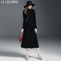 LE CELEBRE Wool Women Dresses Winter 2017 Long Sleeves Pencil Dress Black Fashion Stretch Knitted Dress