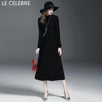 LE CELEBRE Wool Women Dresses Winter 2017 Long Sleeves Pencil Dress Black Fashion Stretch Knitted Dress