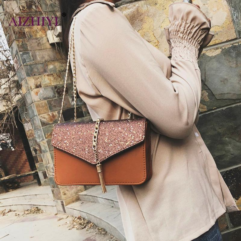 2018 Women Sequin Stars Handbags Clutch Pu Leather Chain Crossbody Bags For Tassel Shoulder Sling Small In Top Handle From Luggage