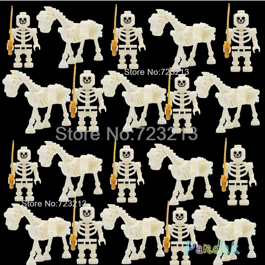 Wholesale 20pcs Skeleton Knight Horse Army Set Skull Castle Cavalry Model Building Blocks Brick MOC Kits Toys Legoing