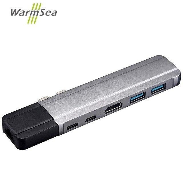 USB C רכזת סוג C מתאם Thunderbolt 3 כדי 4K HDMI Gigabit Ethernet עם 1000Mbps 2 USB 3.0 יציאות USB C טעינה עבור Macbook Pro