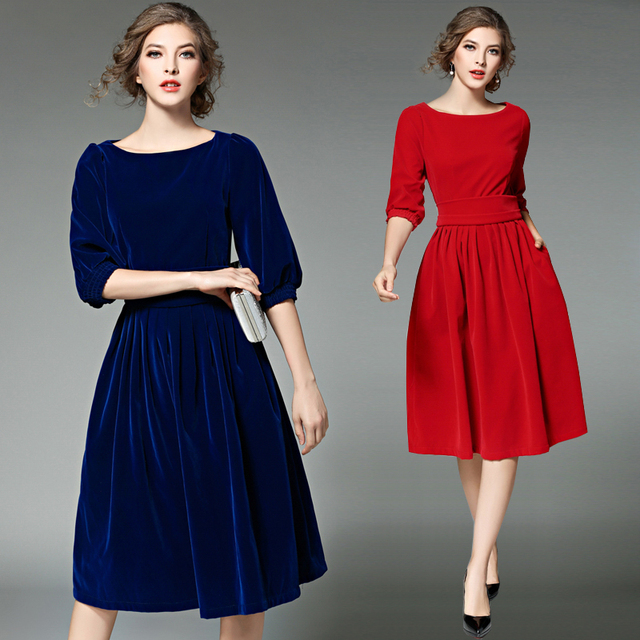 new ol style women blue velvet dress spring dresses women vestidos ukraine red christmas party dresses - Red Christmas Dress