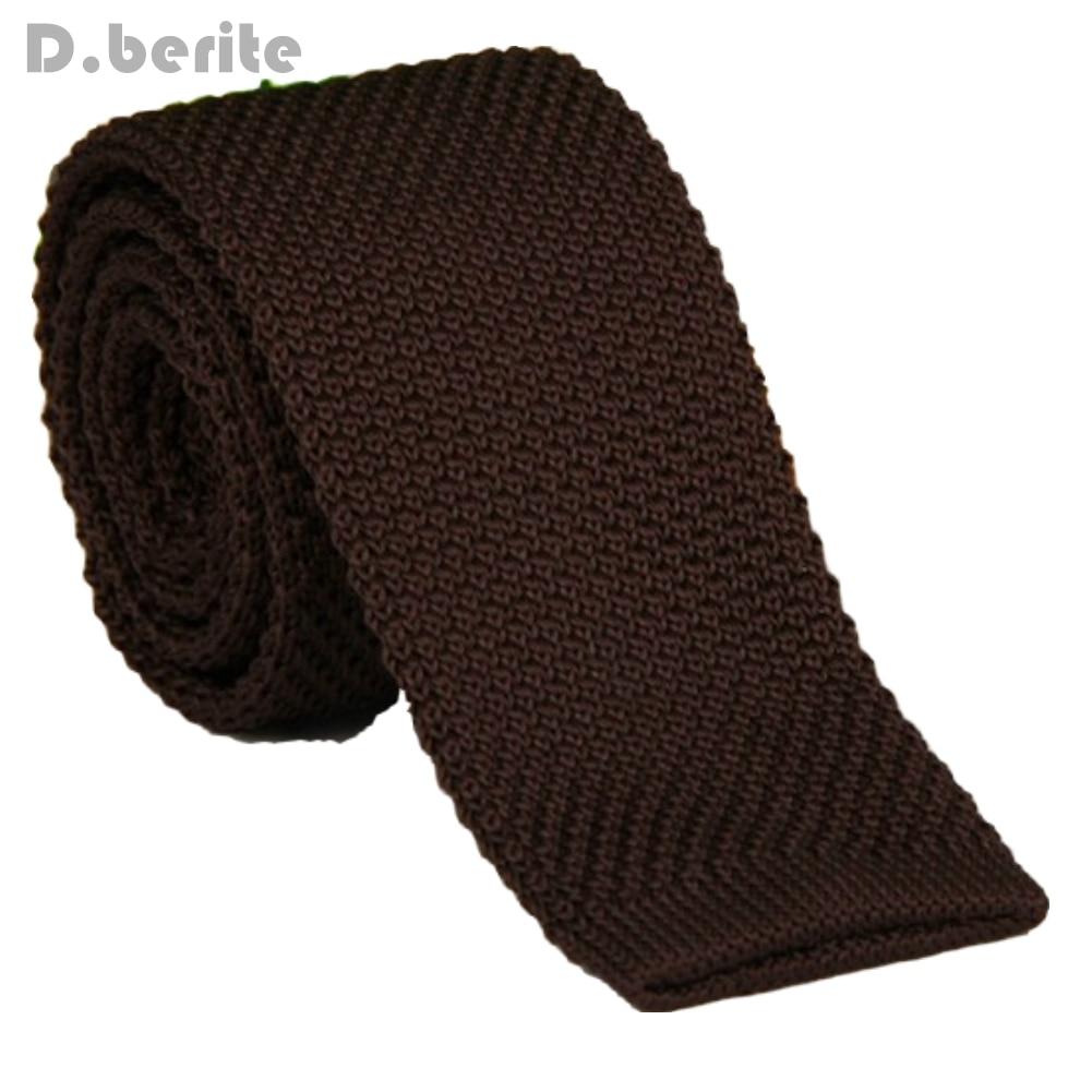 Men's Dark Brown Classical Knit Tie Slim Skinny Knitted Ties Groom Wedding Party Business Necktie ZZLD912