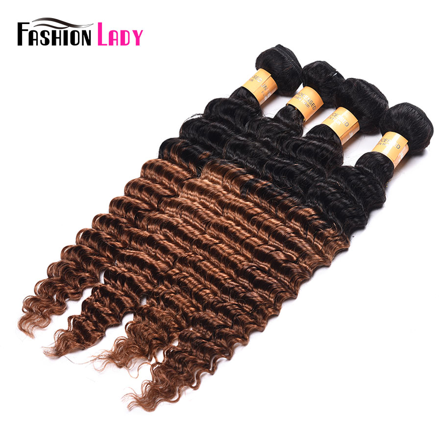 Fashion Lady Pre-Colored Ombre Malaysian Hair Deep Wave Bundles Two Tone Human Hair Weave 1b/30 Brown Weave 4 Bundles Non-remy