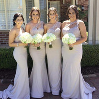One Shoulder Bridesmaid Gowns Peach/Ivory/Champagne/Silver/Coral/Burgundy Lace Applique Mermaid Bridesmaid Dresses Fast Shipping
