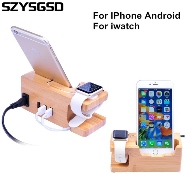 Phone Charging Dock Station For Apple Watch Iphone 8 7 Plus 6 6S 5 5S Wooden Stand Holder With Charger USB Port