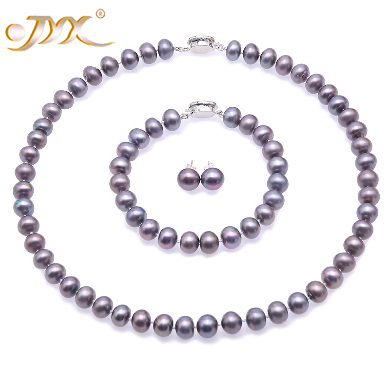 JYX 925 Sterling Silver Freshwater Pearl Jewelry Sets 9-10mm Senior Gray Natural Pearl 925 Earrings Necklace Bracelet Set 17