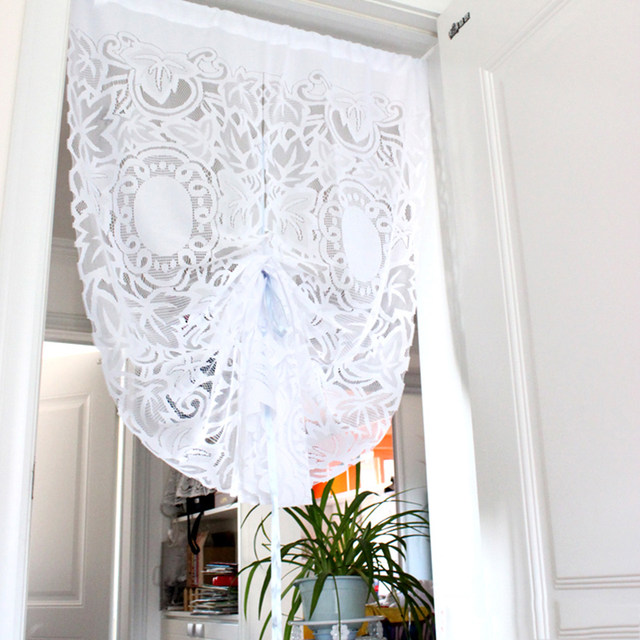 85x150cm Lace Curtains Gauze Drawstring Short Curtain For Living Room Kitchen Cabinet Door Leaf Partition Half