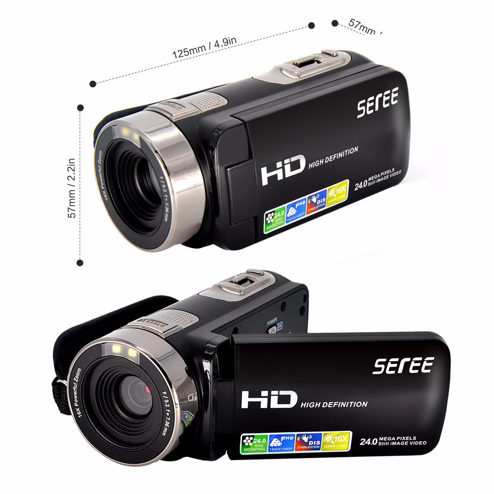 "Seree HDV-301S 1080P Digital Video Camera 24MP 16X 3.0"" Rotatable Touch Screen LCD Camcorder DV With Remote Controller 4"