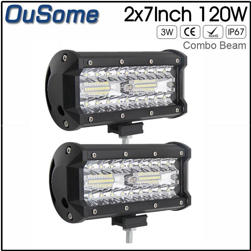 7 inch 120W White Yellow LED Work light Spot Flood Light combo LED work light For