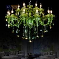 Led e14 europeu ferro de cristal vidro verde lustre iluminação suspensão luminária lampen para foyer