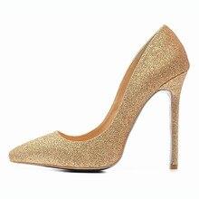 Schuhe Frau 12 CM High Heels Gold Schuhe Frauen Pumpen Gezeigte kappe Damen Hochzeit Schuhe Dünne Fersen Glitter Schuhe Zapatos Mujer F-008