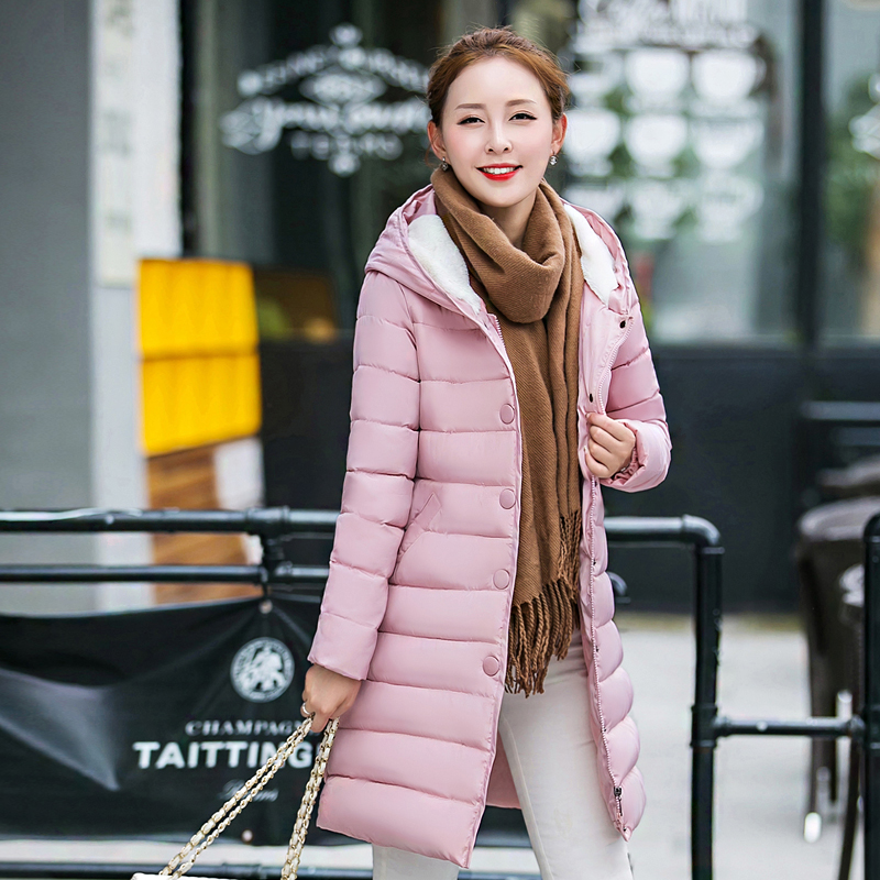 2017 New Winter Parkas Loose Cotton-padded Clothes Female Long Coat Thin Jacket Double Breasted Big Pockets Ladies Warm Outwears 2015 cotton padded elderly warm thickening long cotton padded jacket mens new single breasted wholesale zipper loose coat d10