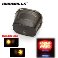 Ironwalls Motorcycle Led Taillight Tail Light Running Brake License Plate For Harley Dyna Softail Sportster Road