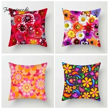 Fuwatacchi Floral Cushion Cover For Sofa Home Decor Heavy Color Flowers Throw Pillow Cover Palm Leaf Decorative Pillowcase