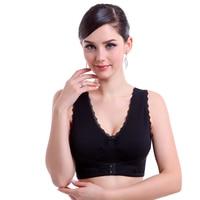 Women S Underwear Sports Wireless Bra Adjustable Push Up Seamless Vibration Front Button Vest Design Lace