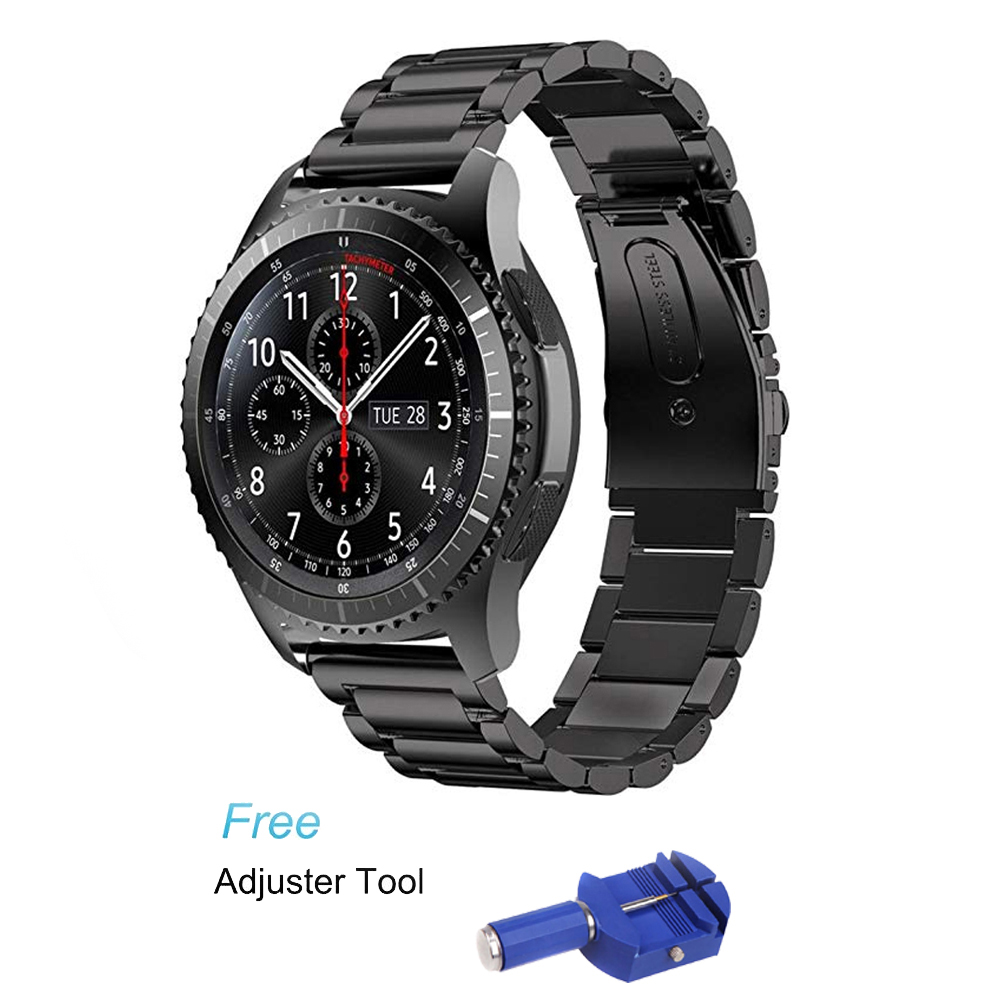 22mm Stainless Steel Watch Band for Samsung Gear S3 Class/Frontier/Galaxy wacth 46mm strap metal smart watch bracelet belt22mm Stainless Steel Watch Band for Samsung Gear S3 Class/Frontier/Galaxy wacth 46mm strap metal smart watch bracelet belt