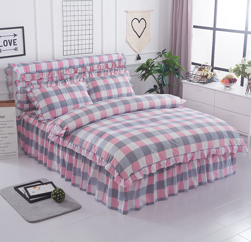 16 Colors Thickened Quilted Bed Skirt + Duvet Cover + Pillow Cases Winter Beddding Set Sanding King Queen Twin Full Single Size