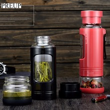 PREUP 430ML Two Sections Glass Water Bottle With High Borosilicate Glass Liner Portable Cup Coffee Tea Milk Travel Mug