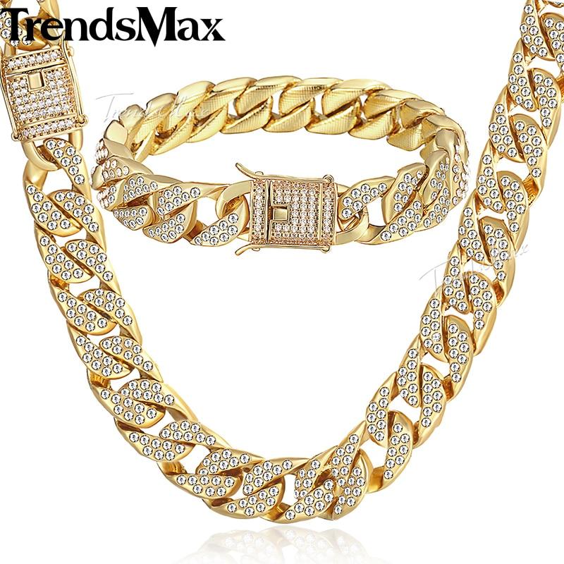 إمرأة الرجال طقم مجوهرات الذهب ميامي كبح الكوبية ربط سلسلة قلادة سوار مجموعات للرجال مثلج خارج الهيب هوب مجوهرات 14 ملليمتر KGS262-في أطقم المجوهرات من الإكسسوارات والجواهر على  مجموعة 1