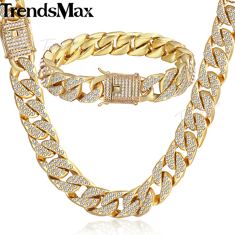Womens Men's Jewelry Set Gold Miami Curb Cuban Link Chain Necklace Bracelet Sets For Men Iced Out Hip Hop Jewelry 14mm KGS262 8mm 10mm 12mm 14mm stainless steel miami curb cuban bracelet mens hip hop thick gold filled cuban link heavy bracelet 23cm