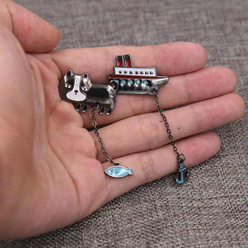 Japonya Tarzı Emaye Yavru Kedi Vapur Çapa Broş Yaka Pin Metal Zincir Konfeksiyon Aksesuar Kadınlar moda takı